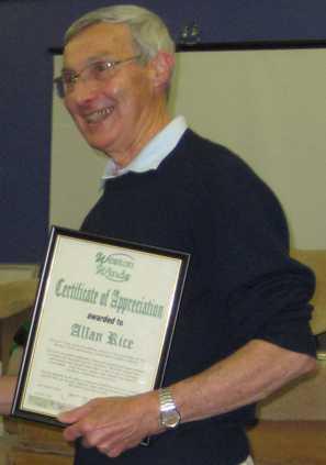 Allen with his certificate